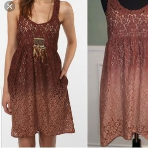 Ecote size small brown ombre lace dress